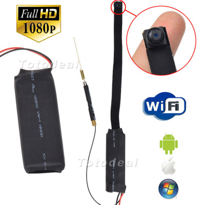 Mini WIFI Camera Cord Pin Hole  Remote Control Type  WiFi Spy Camera Phone App  Examination Viewing angle  140 ° Video Resolution  1920x1280